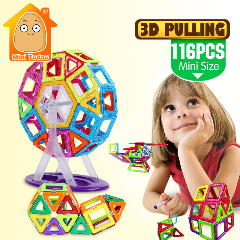 116PCS Mini 3D Magnetic Designer Construction Magnetic Building Blocks Educational Toys For Girls And Boys exerpeutic 1000 magnetic hig capacity recumbent exercise bike for seniors