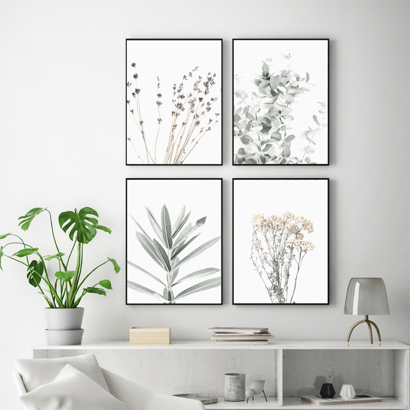 Lavender Eucalyptus Posters Botanical Canvas Painting Farmhouse Wall Decor Art Pictures Print Bedroom Decoration Scandinavian image