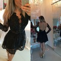 Smart A-Line Deep V Neck Black Lace Short Cocktail Dress Long Sleeves Illsion Back Homecoming Dress