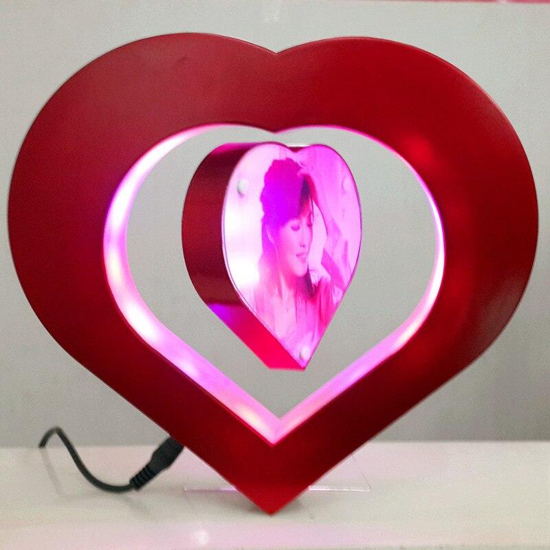 heart shape magnetic levitation floating photo frame novelty gift led light cool toydisplay of