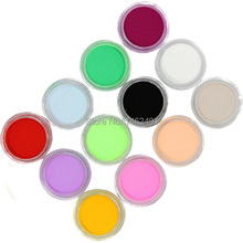 12 Colores de Moda de la Decoración Del arte Del Clavo polvo Fino Polvo de Uñas Para gel ULTRAVIOLETA de Acrílico Del Arte Del Clavo Envío gratis