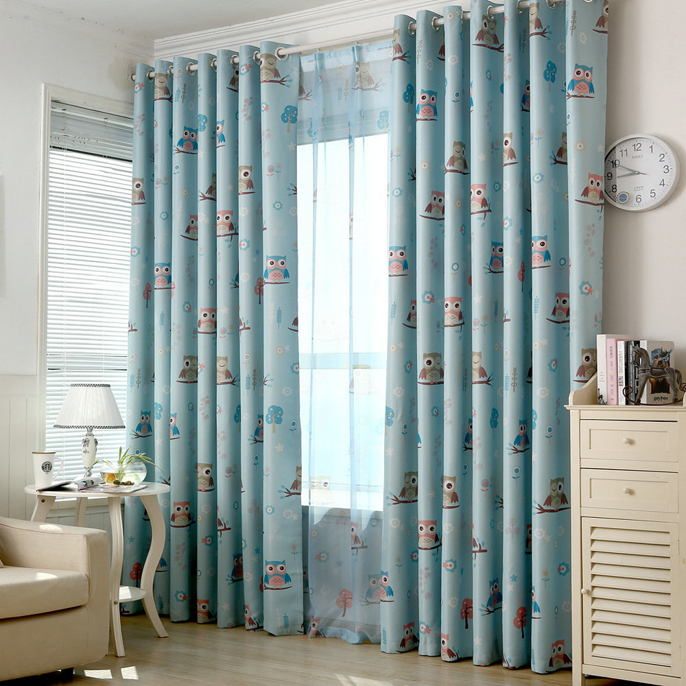 Buy owl kids curtain blackout cartoon for for Blackout curtains for kids rooms