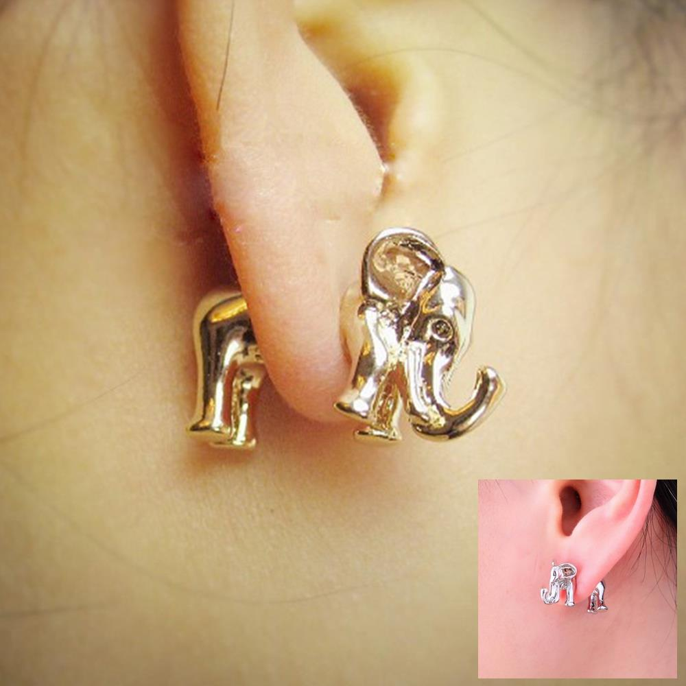 Kittenup 1 Pair Korea Fashion Animal Punk Ear Piercing Jewelry Gold Color Silver Elephant Stud Earrings For Women 0302 In From