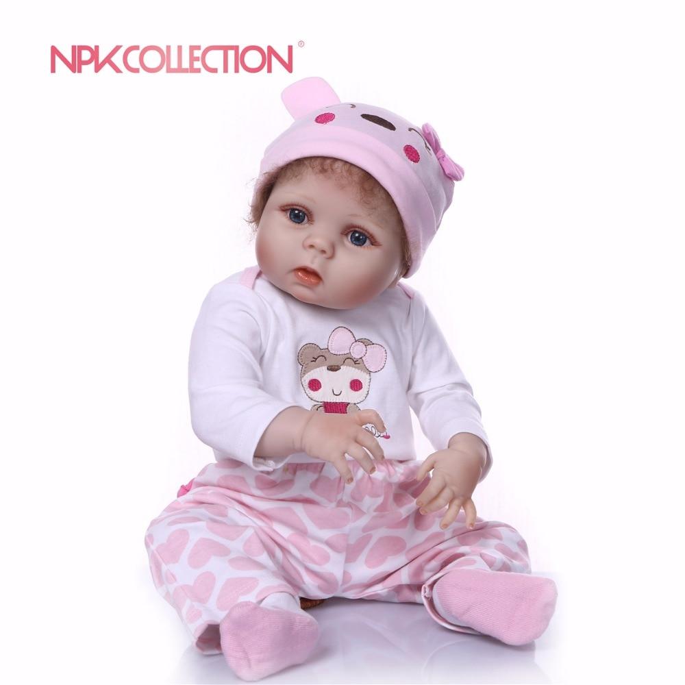 NPKCOLLECTION 55 см полный Силиконовый реборн Детская кукла ручной работы детские живые игрушки для букетов кукла Bebe Reborn девочки Playmate подарок