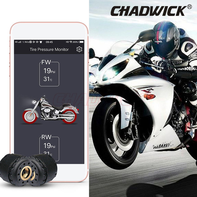 Mobile Phone APP Detection Motorcycle Bluetooth Tire Pressure Monitoring System TPMS CHADWICK TP200 NEW 2 External Sensors motor