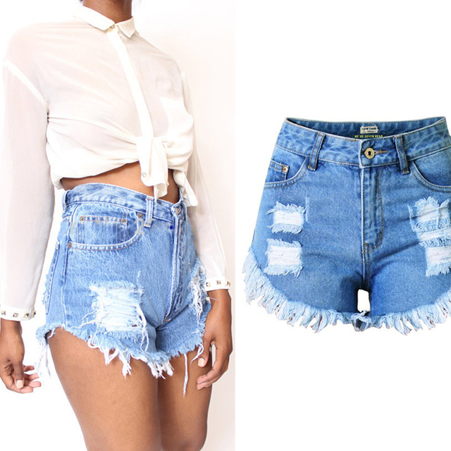 Olrain Moda Vintage Mujer de Cintura Alta Agujero Rasgado Borla Pantalones Cortos de Mezclilla Pantalones Cortos de Mini