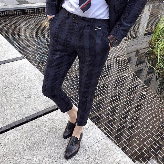 2018 New Plaid Pants Men's Pants Men's British West Pants