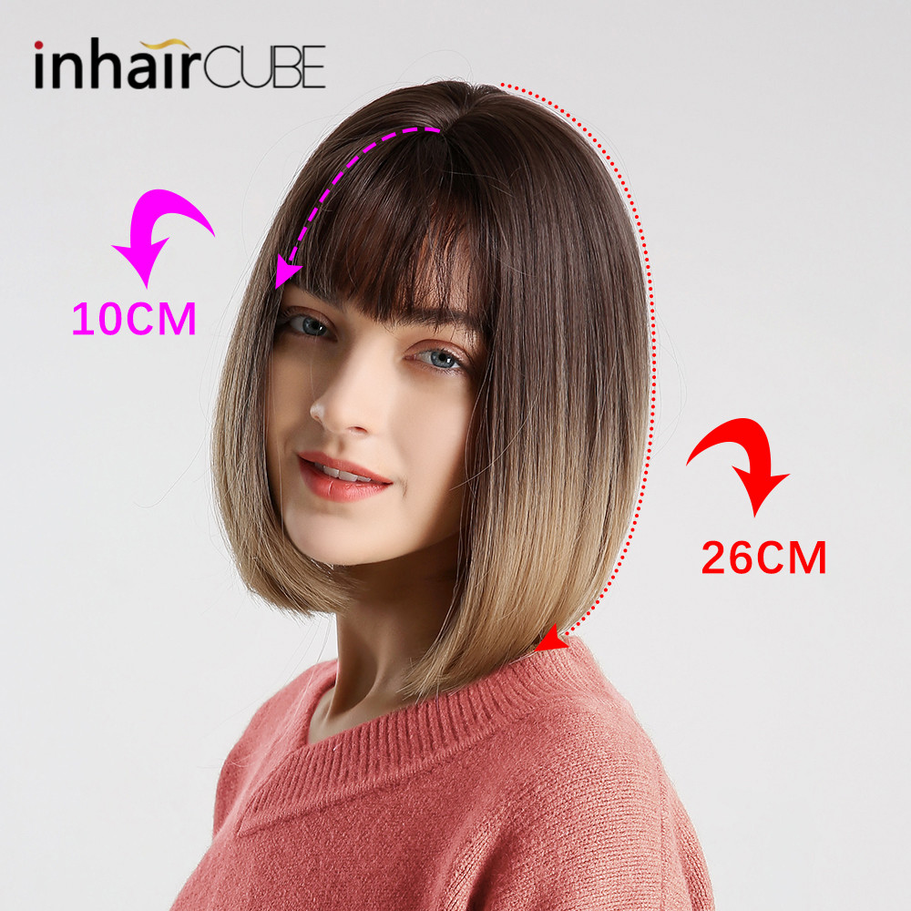 Image 3 - Inhair Cube Synthetic Flat Bangs Women Wig Ombre with Highlight Short Straight Hair Bob Wig  Cosplay  Hairstyle-in Synthetic None-Lace  Wigs from Hair Extensions & Wigs