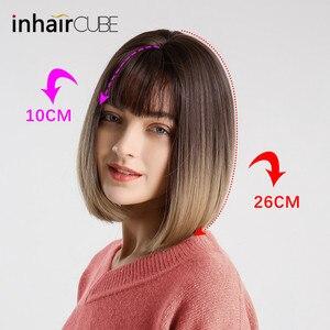 Image 2 - Inhair cube sintético liso franja peruca feminina ombre com destaque cabelo curto em linha reta bob peruca cosplay penteado