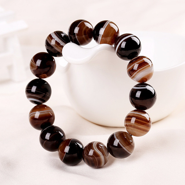 Natural Stones Sardonyx Brown Stripe Agate Bracelets Round Beads Bangle Men Women Crystal Quartz Jewelry Love Energy Gift