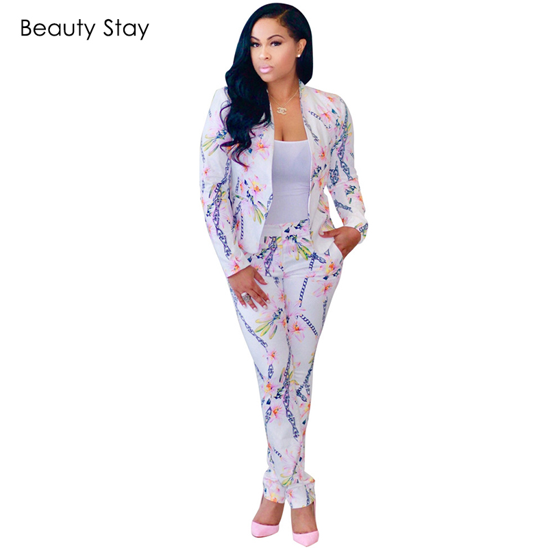 BeautyStay Autumn Winter Print Floral Women's Sets Sexy Slim Elegant Office Two Piece Set Suit Blazer Jacket Women Pant Suits