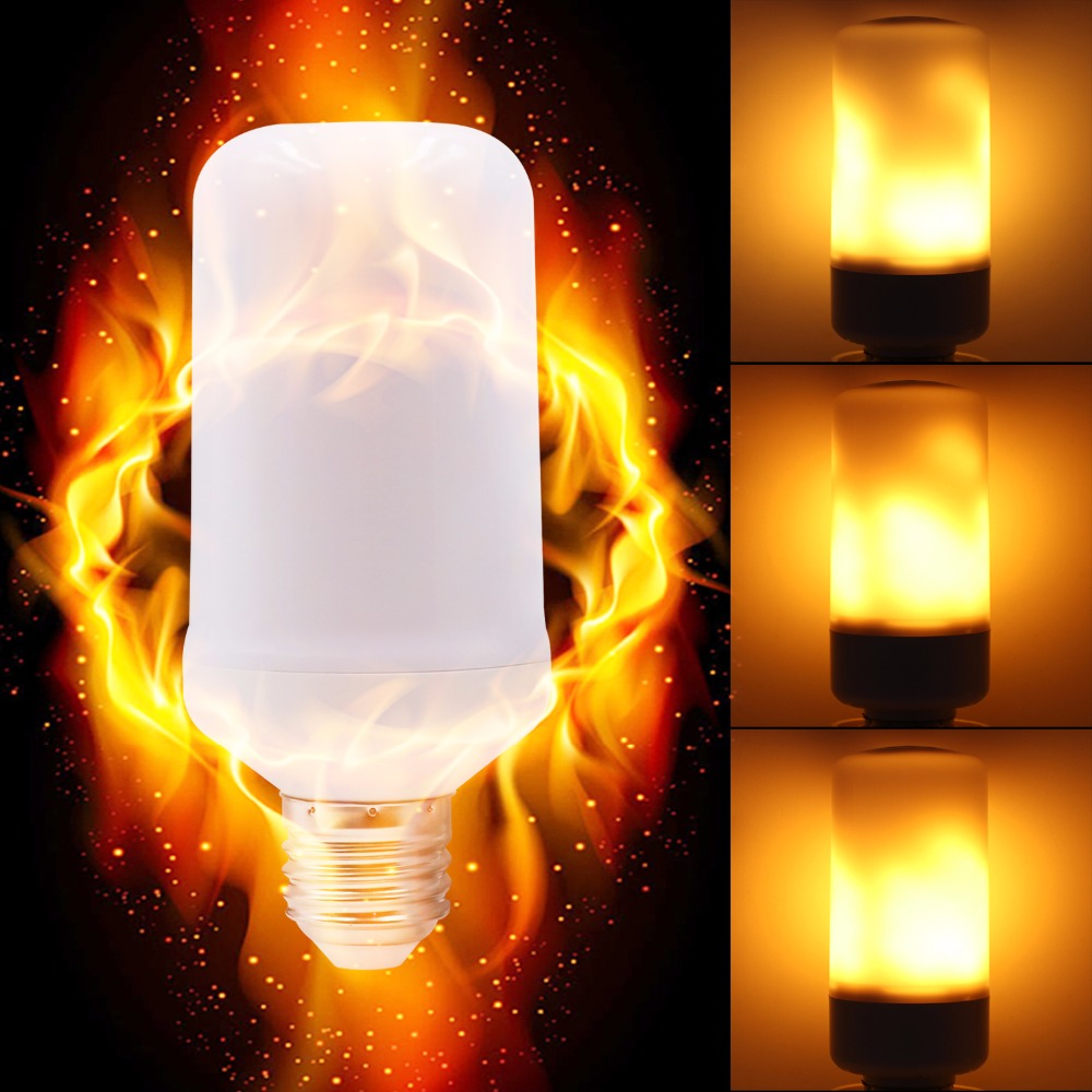 GUGI Holiday Romantic Flame effect Led Light Bulb 3 Modes with Gravity Bright Lamp Bulb Flickering