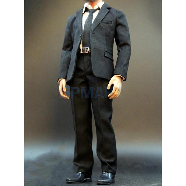 2ce47b74ee021 1/6 Skala męska Czarny Garnitur Koszula Spodnie Pas Buty Krawat ubrania  Komplet dla 12