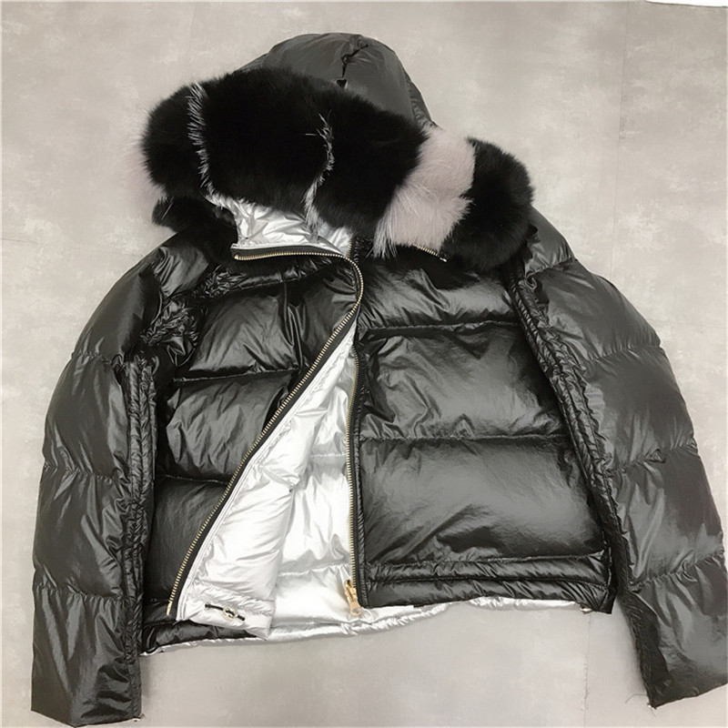 WSYORE 2018 New Winter Women Real Fox Fur Hooded Duck   Down   Jacket Fashion Two Sides Wear Winter Women Parka Duck   Down     Coat   NS845