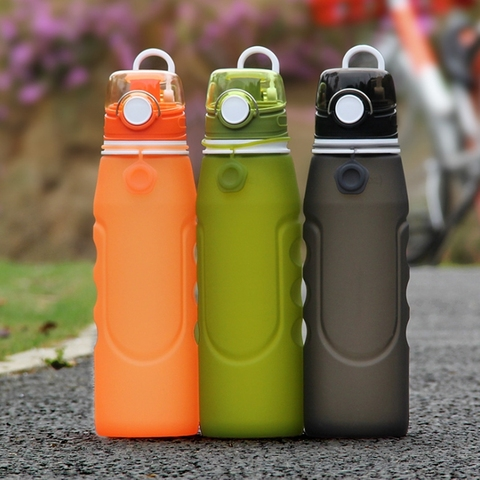 750ml Telescopic silicone bottle outdoor sports water bottle button lid 0.75L folding silica drinking collapsible bottle Pakistan