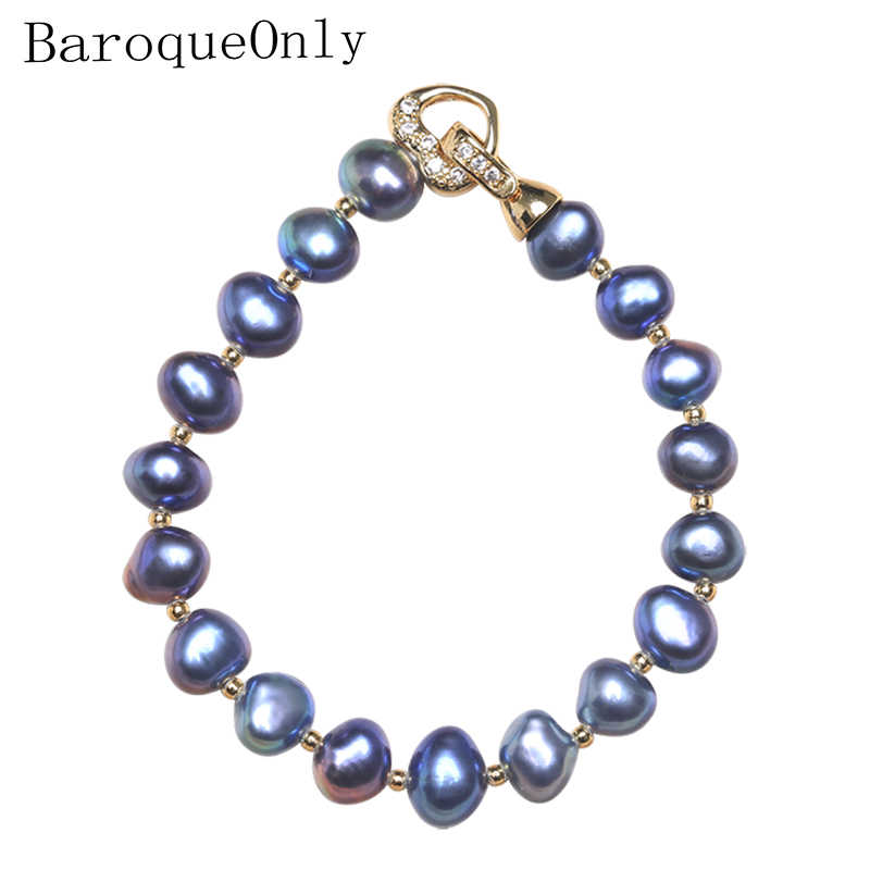 BaroqueOnly High Quality Natural Freshwater Pearl Bracelets rose gold heart CLASP irregular Pearl Jewelry customizable 7-8MM HZB