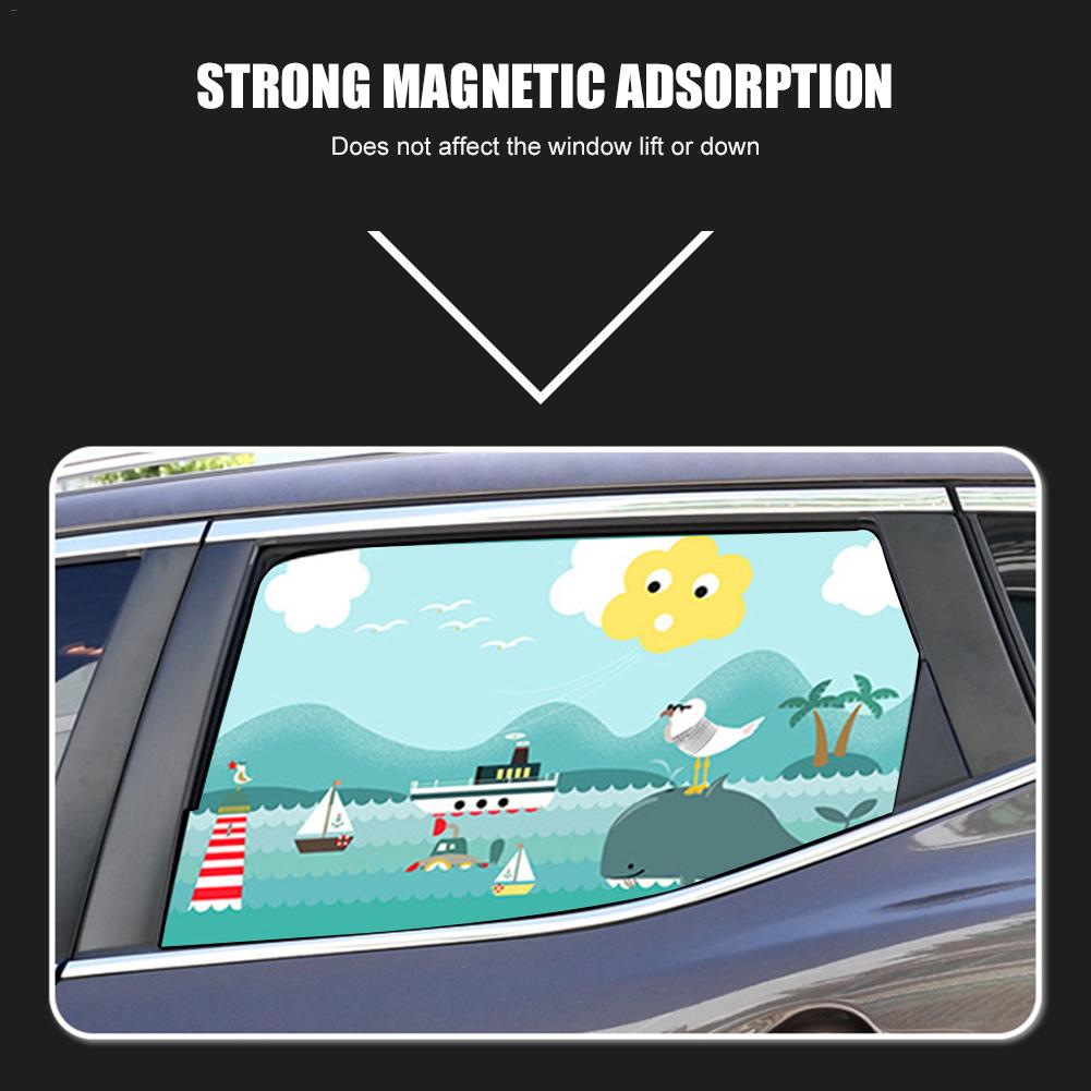 Image 3 - 2pcs Magnetic Car Sunshade Car Sunscreen Insulation Magnet Sun Shade Retractable Curtains Rear Row Cartoon Window Shade-in Side Window Sunshades from Automobiles & Motorcycles