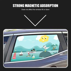 Image 3 - 2pcs Magnetic Car Sunshade Car Sunscreen Insulation Magnet Sun Shade Retractable Curtains Rear Row Cartoon Window Shade