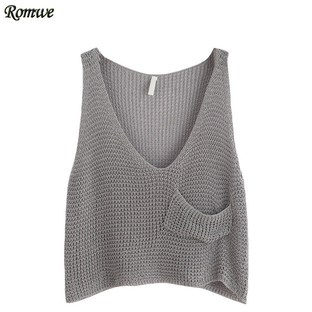 ROMWE Woman Fitness Tank Top Summer Style Ladies Grey V Neck Sleeveless Casual Knit Crop Tank Top With Front Pocket