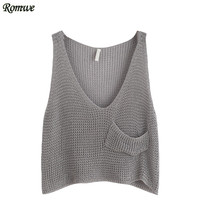 ROMWE Woman Fitness Tank Top Summer Style Ladies Grey V Neck Sleeveless Casual Knit Crop Tank