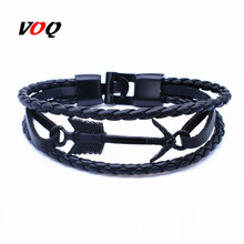 New Arrival Charm Leather Vintage Black Arrow Bracelet Anchor Bracelet Men Women lovers' gift pulseras