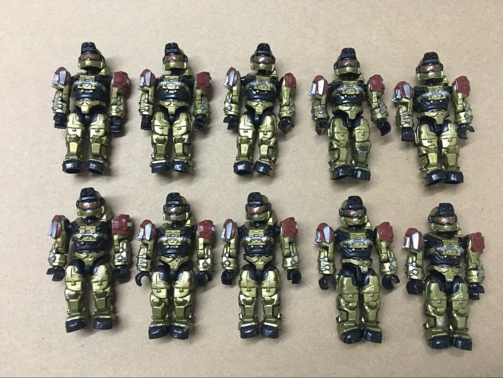 Rare Lot 10 pcs HALO MEGA BLOKS Exclusive UNSC Gold Spartan