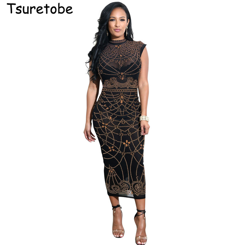 Detail Feedback Questions about Tsuretobe New Fashion Women Print Midi Dress  Sleeveless See Through Sexy Dresses Black Bodycon Party Club Dress on ... f1686868ff8d