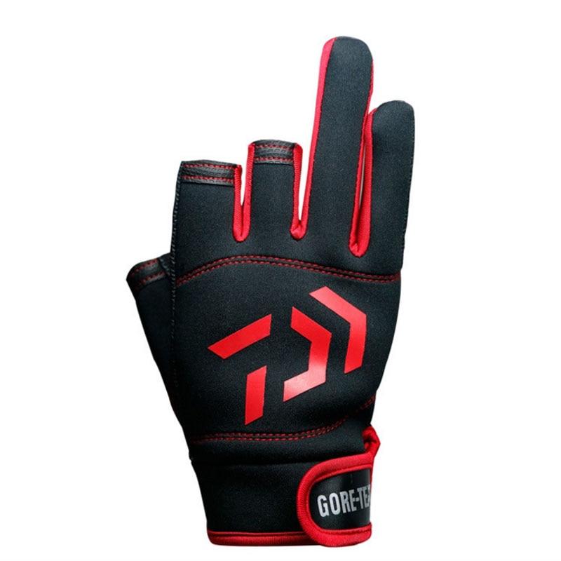 2018 neue Top Qualität Anti Slip DAIWA Angeln Handschuhe Drei Fünf Cut Finger Leathe Outdoor Sport Slip-beständig Angeln handschuhe