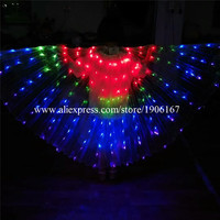 Newest Belly Dance RGB LED Isis Wings Colorful Popular Stage Performance Props Wings Props With Stick Belly Dancing Accessory