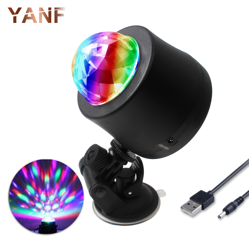 1Set Universal Car-styling DJ Light Windshield LED Music MP3 Club Party Mini RGB Crystal Stage Rotating Bulb with USB Interface mini rgb led party disco club dj light crystal magic ball effect stage lighting