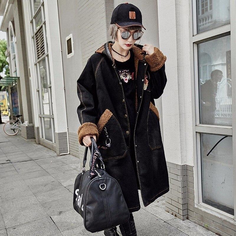 Femme Fourrure Chaqueta Coupe Jeans Max Parka Hiver Lulu À Noir Motif Longue Veste Manteau Mujer Luxe Filles De Punk vent Capuche Femmes Denim vgTRnvU0