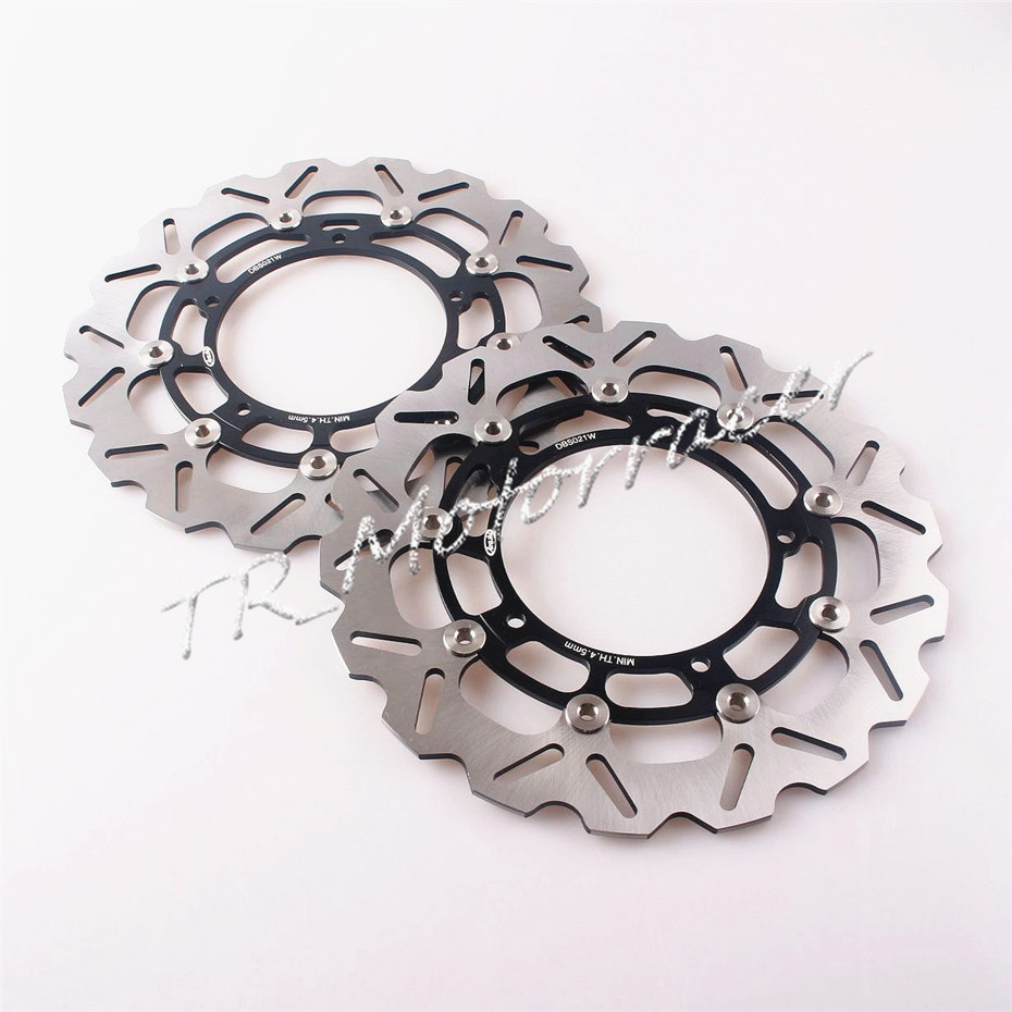 1 Pair Front Brake Disc Rotor For YAMAHA YZF R6 2005 - 2014 YZF R1 2007 - 2011 FZ8 2010 -15 2012 2013 Black brand front brake disc rotors for yamaha 2007 2011 yzf r1