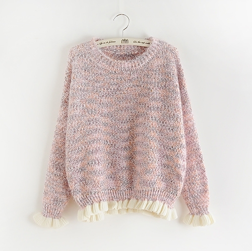 Cute Sweater Short Loose Preppy Style Ruffles Short Sweater Long Sleeve Pullover Jumper Knitting Tricot Knitted C6821