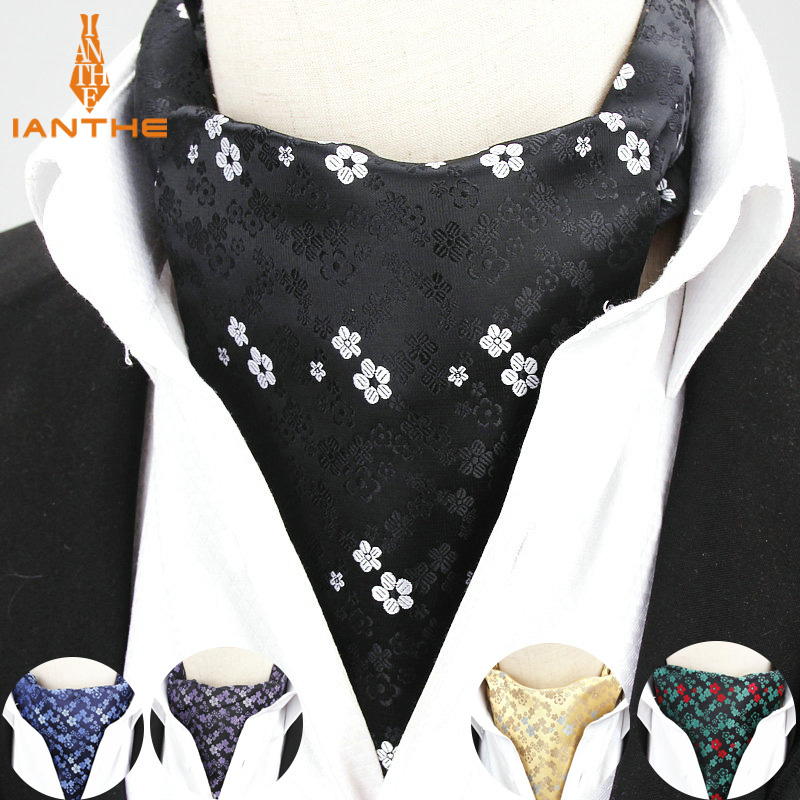 2018 Brand New Men Vintage Flower Wedding Formal Cravat Ascot Scrunch Self British Style Gentleman Polyester Neck Tie Luxury
