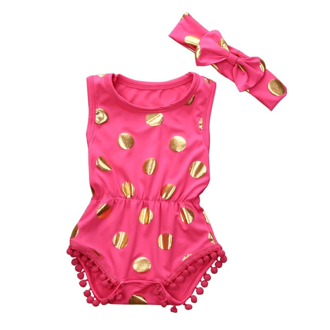 0-18M Newborn Toddler Baby Girls Clothes Polka Dot Romper Jumpsuit Headband 2Pcs Sets Summer Outfits fashion 2pcs set newborn baby girls jumpsuit toddler girls flower pattern outfit clothes romper bodysuit pants