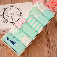 6pcs/lot New Cotton Milk Green Teenage Girl Underwear Ladies Short Briefs Japanese Korean Middle Waist Girls Panties