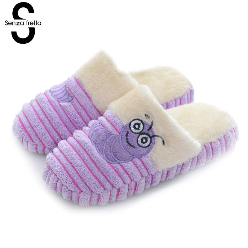 Senza Fretta Winter Warm Women Shoes Caterpillar Plush Cotton Soft Slippers Couple Indoor Non-slip Soft Bottom Floor Slippers women floral home slippers cartoon flower home shoes non slip soft hemp slippers indoor bedroom loves couple floor shoes
