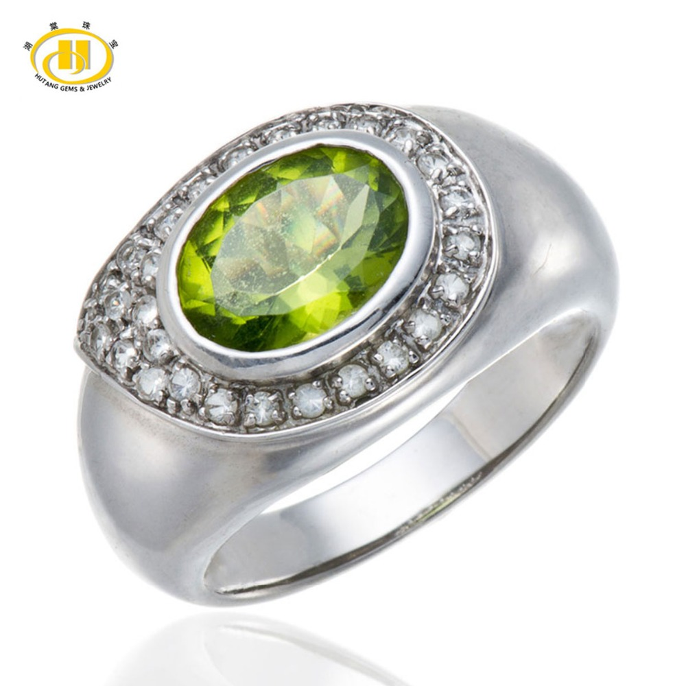 Hutang 3 59Ct Natural Green Peridot Topaz Rings Solid 925 Sterling Silver Ring for Womens Fine