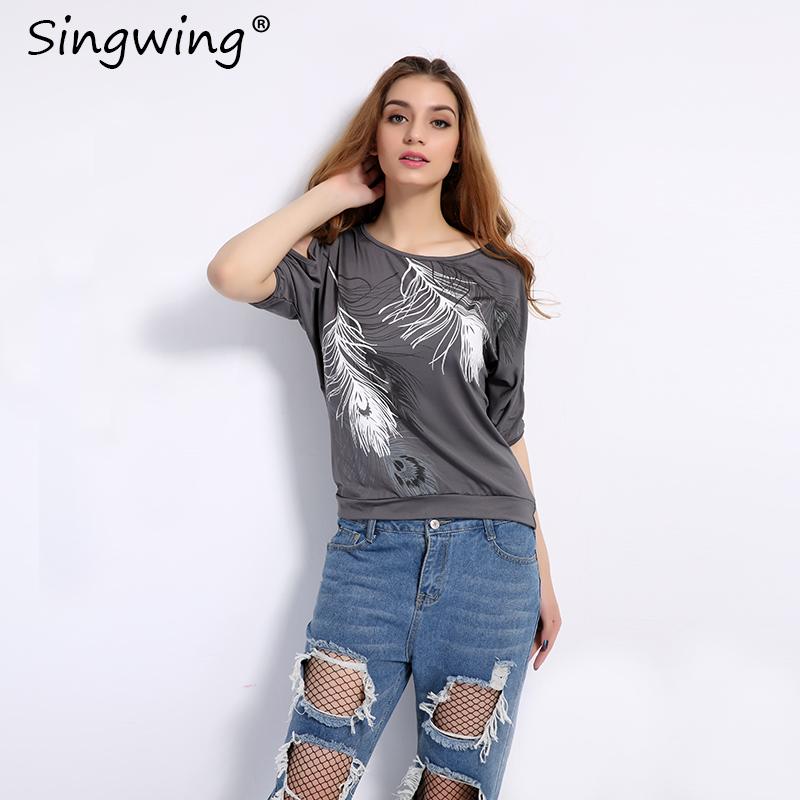 HTB1QQXBSXXXXXXqXXXXq6xXFXXXG - Summer Women Feather Printed T-shirts O- neck Strapless Shirts Off Shoulder