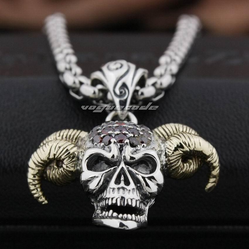 925 Sterling Silver Devil Goat Skull Pendant Red CZ Stone Head Brass Horn Biker Punk Style 8N021 Steel Necklace 24inch цена