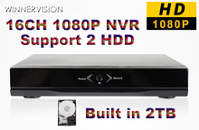16Channel Network Video Recorder Surveillance 16Ch NVR Cloud P2P with 2TB HDD ONVIF 2.0 For IP Camera System 1080P/960P/720P