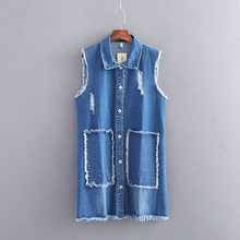 Plus Size 4XL Summer Autumn Jacket Sleeveless Cardigan Ladies Jeans Waistcoats Long Denim Vest Women Slim Jacket Chalecos Mujer(China)