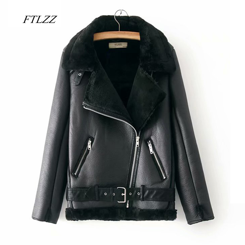 FTLZZ Women Winter Warm Faux Lamb   Leather   Jacket Coat Faux   Leather   Lambs Wool Fur Collar Motorcycle Black Jacket Bomber Overcoat