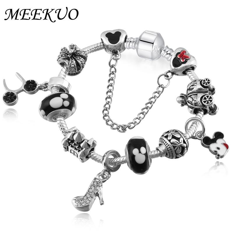MEEKUO Newest Original Silve Minnie Charm Bracelets For Women Mickey Beads Pandora Bracelets & Bangles Pulseras DIY Jewelry