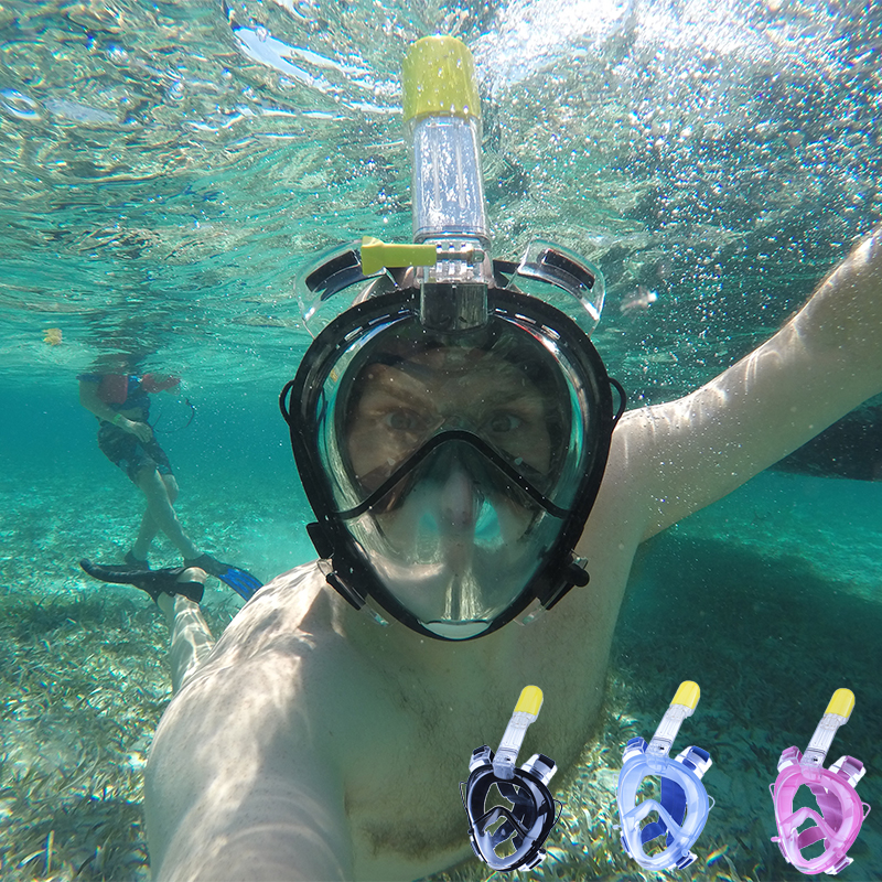 2018 Sous-Marine Masque De Plongée Sous-Plein Visage Plongée En Apnée masque Respiratoire étanche De Natation Tuba formation masques