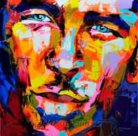 Palette knife painting portrait Palette knife Face Oil painting Impasto figure on canvas Hand painted Francoise Nielly 36