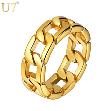 U7 Hip Hop Ring Gifts for Men 316L Stainless Steel Band Gold/Black/Silver Color 2017 New Cuban Chain Ring Men's Jewelry R1014 shiying jz014 men s stylish 316l stainless steel ring silver