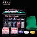 200 pcs Texas Hold'em Poker Set com Pocker Chips/Toalha De Mesa/Caixa de Jogo de Tabuleiro de Jogo Portátil De Metal Cegos Jogos de Jantar
