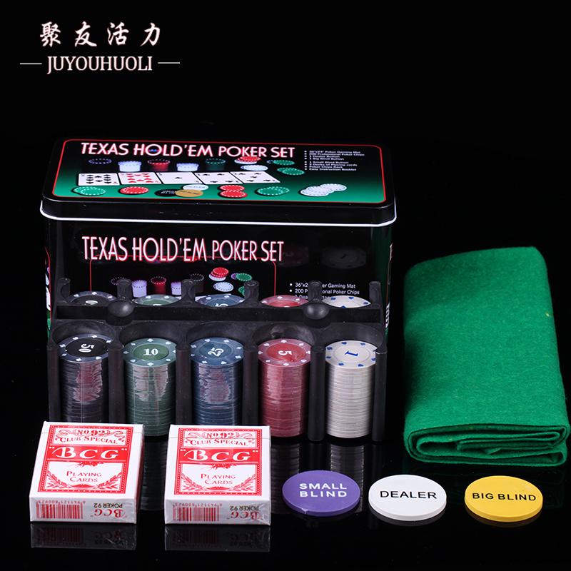 200pcs Texas Hold'em Poker Set With Pocker Chips/ Table Cloth/ Blind Metal Box Portable Gambling Board Game Dinner Party Games
