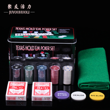 Poker-Set Texas-Hold'em Portable Board-Game Metal-Box Gambling 200pcs with Table-Cloth/blind